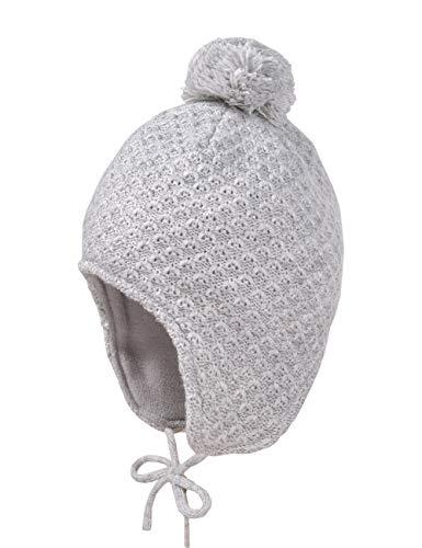 maximo Baby-Mädchen mit Struktur und Pompon und Bindeband Mütze, Grau (Graumeliert...