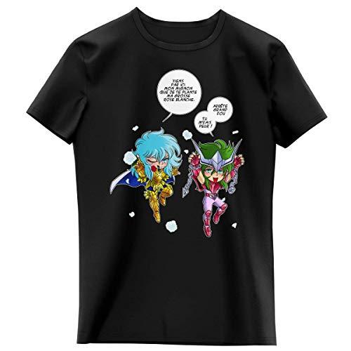 T-shirt Enfant Fille Noir parodie Saint Seiya - Shun d'Andromède et Aphrodite chevalier d'or des Poissons - Attends que je t'attrape !! (T-shirt enfant de qualité premium de taille 13-14 ans - imprim