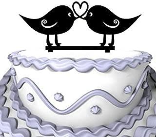 Meijiafei Love Birds Heart Design Silhouette Rustic Wedding Anniversary Cake Topper