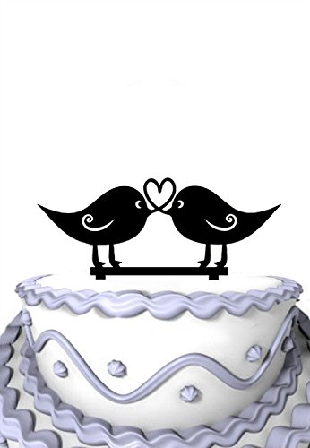 Meijiafei Love Birds Heart Design Silhouette Rustic Wedding Anniversary Cake Topper