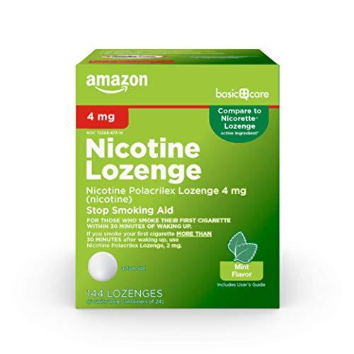 Basic Care Nicotine Polacrilex Lozenges, 4 mg (nicotine), Mint Flavor, Stop Smoking Aid, 144 Count