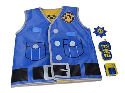 Simba 109252478 - Feuerwehrmann Sam Polizei Einsatzset / bedruckte Weste mit Wendefunktion / Body Cam 5cm mit Bildbetrachter / Walkie-Talkie / Marke