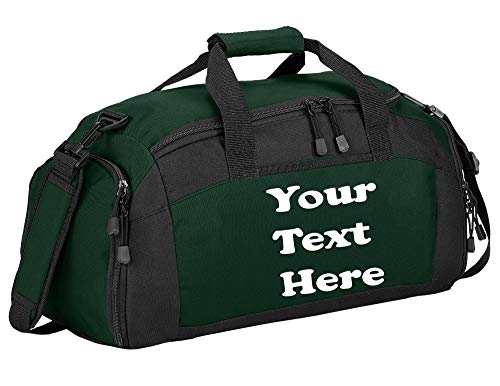 Personalized Monogrammed Gym Duffel Bag with Custom Text   Sports Bag with Customizable Embroidered Monogram Design (Hunter)