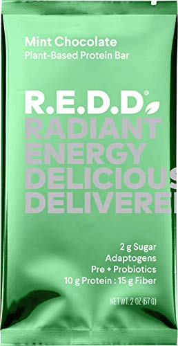 REDD Vegan Protein Bar - Mint Chocolate - 12 Bars - Healthy Snack with 10g Plant-Based Protein, Low Sugar, Gluten-Free, Dairy-Free, High Fiber, Probiotics