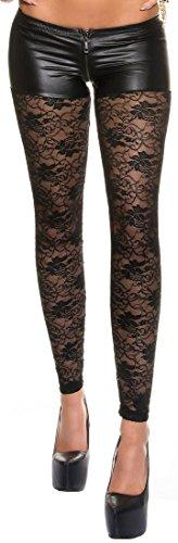 Firstclass Trendstore Leggings mit eleganter Spitze und Zip Gr. S-XL, Leggins Damen Gogo Clubwear Spitzenleggings (900592 schwarz XL)