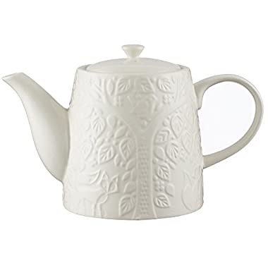 Mason Cash In the Forest Teapot, Durable Stoneware, Classic Design With Lid and Sturdy Handle for Easy-pouring, Intricate Embossed Design, 32-Fluid Ounces, Microwave and Dishwasher Safe, Cream
