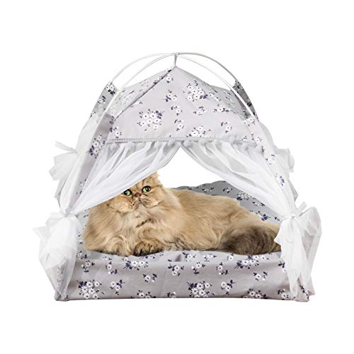 laamei Tenda per Gatti/Cani Cuccia per Animali in Tela Portatile Lettini per Gatti Animali Domestici Rimovibile Lavabile in Stile Floreale con Cuscino per Gatti(Grigio,58*58*59cm)