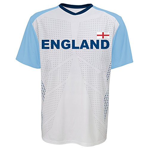 World Cup Soccer England Youth Boys Federation Jersey Short sleeve Tee, Large (14-16), White