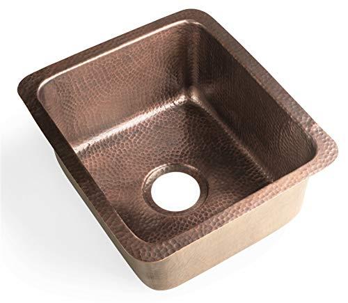 Monarch Abode 17090 Pure Copper Hand Hammered Highball Bar Prep/Kitchen Sink (17 inches)