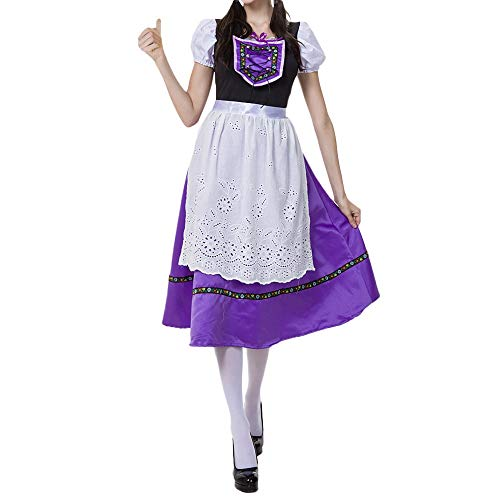 Sannysis Oktoberfest Dirndl Kleid Midi Karneval Kostüm Trachtenkleid Bayerische Taverne Bar Halloween Maid Party Traditionelles Kleidung Trachten Damen Dirndl Set (XL, Lila)