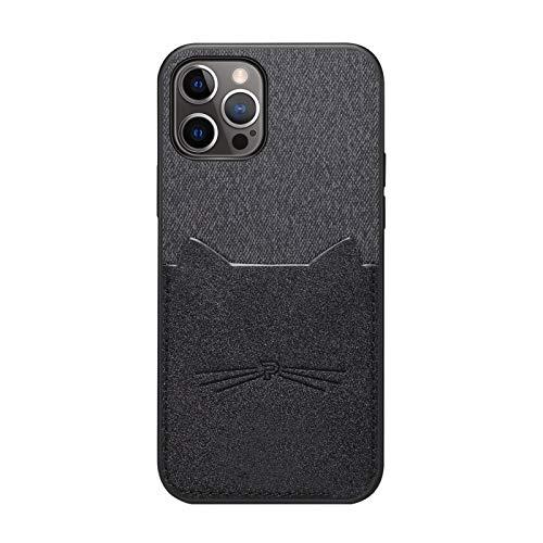 Funda de teléfono móvil compatible con iPhone 12 Pro Max, funda de piel y tela, funda de poliuretano termoplástico con diseño de gato, ranura para tarjetas, funda para iPhone 12 Pro Max, color negro