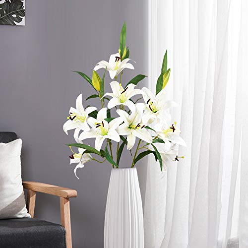 Sunm boutique Artificial Lily Flowers, Easter Lily Flowers with 9 Full Bloom Flower Heads and 3 Buds, Real Touch Rubbery Lily Flower Bouquets for Easter, Wedding Party Office Home Decor, Pack of 3