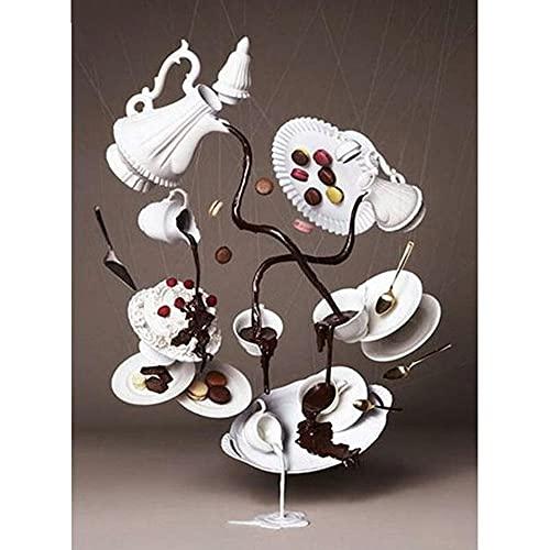5D DIY Pintura Diamante Taladro Completo Kit Comida'Taza De Pastel De Chocolate' Con Diamantes De Imitación,Para Decoración De La Pared Del Hogar 30 * 40cm