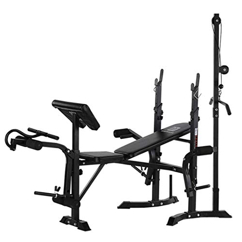 Adjustable Weightlifting Bed Bench Press Squat Rack Indoor Multi-Function Olympic Weight, Strength Training Fitness Equipment for Full-Body Workout (A)