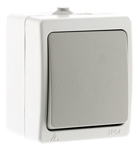 Akya – Interruptor simple gris claro – IP54