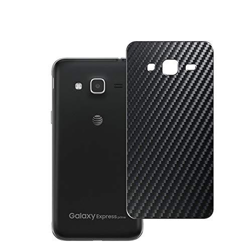 Vaxson 2 Unidades Protector de pantalla Posterior, compatible con Samsung Galaxy Express Prime, Película Protectora Espalda Skin Cover - Fibra de Carbono Negro