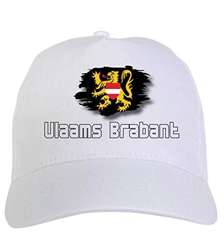 Typolitografie Ghisleri hoeden wit regio's Europa pet wit Vlaams Brabant België vlag klittenbandsluiting 5