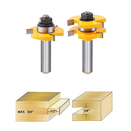 TLHOME Tongue and Groove Router Bits,1/2 Inch 3 Teeth T Shape Wood Milling Cutter Woodworking Tool(2 PCS)