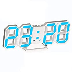 3D Digital Alarm Clock,Wall LED Number Time Clock with 3 Auto Adjust Brightness Levels,Led Electronic Clock with Snooze Function,Modern Night Light Clock Date,Temperature Display (Blue)