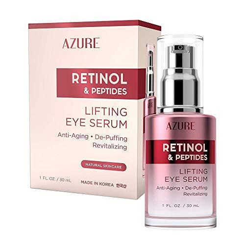 AZURE Retinol & Vitamin E Lifting Eye Serum - Anti-Aging, De-Puffing & Revitalizing | Reduces Wrinkles, Fine Lines & Under Eye Bags | Calms & Soothes Skin | Made in Korea - 30mL