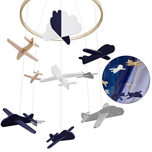 Baby Windspiel Junge, Bettglocke, Baby Windspiel, Mobile für Babybett, Mobile Krippe, Krippe Mobile für Jungen und Mädchen (Schwarzes Flugzeug)