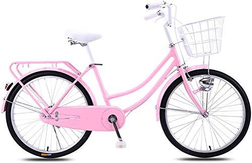 Vélo vintage pour femme, vélo de ville à vitesse unique pour femme Ultra léger portable sans absorption des chocs Loisirs Vélo urbain Vélo de banlieue Vélo double frein à disque Vélo néerlandais,C