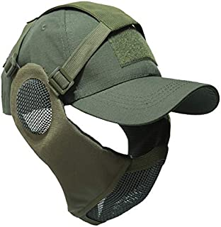NO B Tactical Foldable Mesh Mask with Ear Protection for Airsoft Paintball with Adjustable Baseball Cap