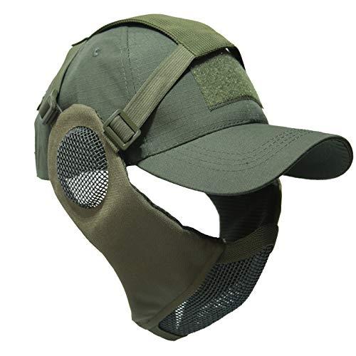 NO B Taktische Faltbare Mesh-Maske mit Ohrenschutz für Airsoft Paintball mit Verstellbarer Baseballkappe, grün