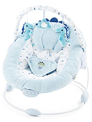 just 4 baby Soft Padded Light Blue Baby Dinosaur Bouncer Recliner with Soothing Music Vibration and Toys 0m+ (696)