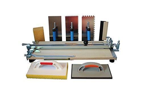 Profi Fliesenschneider 610 mm Schnittlänge und Fliesenlegerwerkzeuge + Gratis Winkel und Rührer für Fliesenkleber