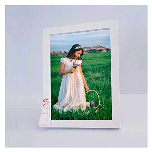 Lote 6 Marcos de Fotos o portaretratos en Madera con Imagen de una niña Vestida de Primera Comunión, Ideal como Detalles para los Invitados a la Primera Comunión.