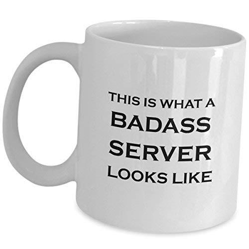 Cukudy Server serveerster ober koffiemok grappig cadeau wat badass eruit ziet als keramische thee Cup leuk baan trots geschenken restaurant eten bestellen Taker waardering schattig Gag voor mannen vrouwen