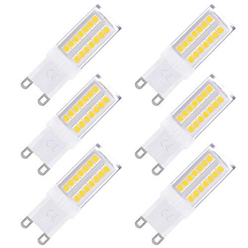 Fulighture G9 lampadina LED, 5W lampadina LED G9 Equivalente 50W,Luce Bianca Fredda 6000K,400Lm Non Dimmerabile,Angolo a fascio 360°Pacco da 6 [Classe di efficienza energetica A+]