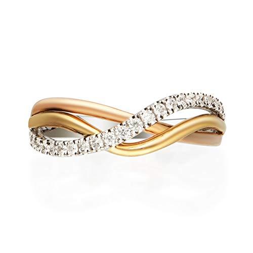 Gin & Grace 14K tres tonos de oro diamante natural (I1, I2) (tamaño 7) Proponer la promesa anillo para las mujeres