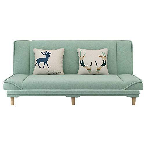 Moderno sofá cama plegable convertible moderno, Lino tapizado de 2/3 plazas de sofá cama sofá sofá sofá para espacio de vida compacto, apartamento, dormitorio, sala de bonificación, verde claro,1.5m
