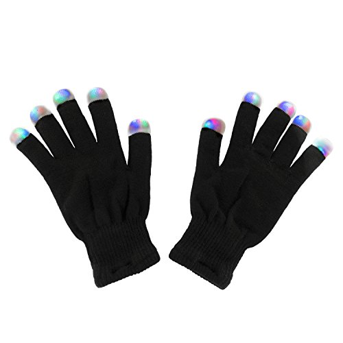 Super Z Outlet Black Knit Gloves LED Strobe Fingertips with 3 Colors for Light Shows, Raves, Concerts, Disco, Festival, Party Favors (1 Pair)