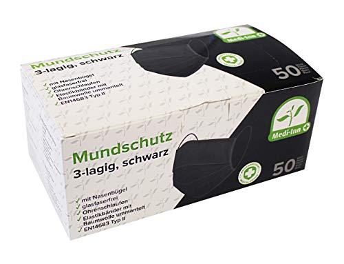 Medi-Inn+ Mundschutz Atemschutz Gesichtsmaske Einwegmaske mit Elastikbändern Typ II 3-lagig schwarz (50)