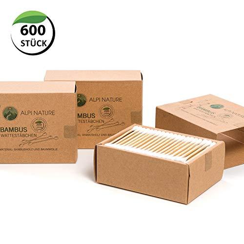 Bastoncillos de bambú para las orejas (600 piezas), Sin pelusas, veganos, respetuosos con el medio ambiente, cosméticos sostenibles sin plástico, Algodón suave, Para niños y adultos