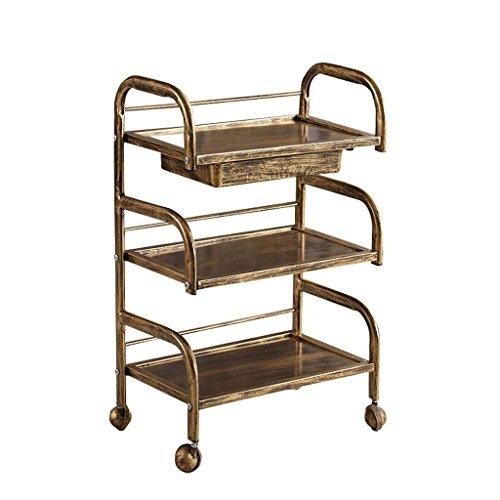 Antiek Copper Beauty trolley manicure, tablet, 3-laags, hout, bedrijfsvoertuig, schoonheid, woonkamer, barber shop, kleine mand, draagvermogen 60 kg