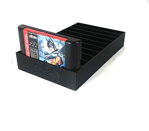 Collector Craft, Black, Sega Genesis Compatible Cartridge Holder, Sega Game Tray, Holds 10 Games, Clutter Reducing, Retro Video Game Collection, Dust Protector, Works with Sega Genesis Cartridges