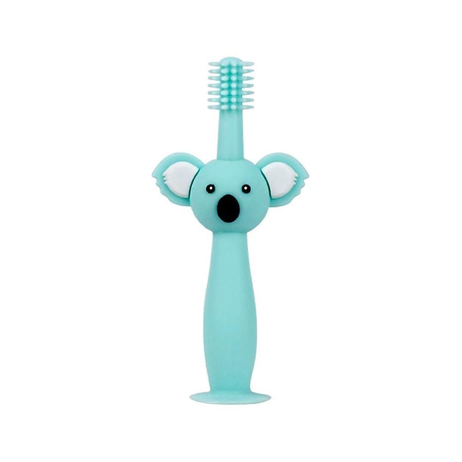 ジャンプする傑作からかうBiuuu 360°赤ちゃん歯ブラシコアラ頭ハンドル幼児ブラッシング歯トレーニング安全なデザインソフト健康シリコーン幼児口腔ケア (グリーン)