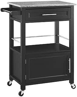 Brighton Hill Mitchell Black Kitchen Cart with Granite Top