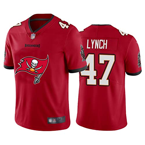 FAONL John Lynch Rugby Trikot # 47 Freibeuter, American Football Trikot Unisex Sport Kurzarm Fitness Atmungsaktive Stickerei red-XL
