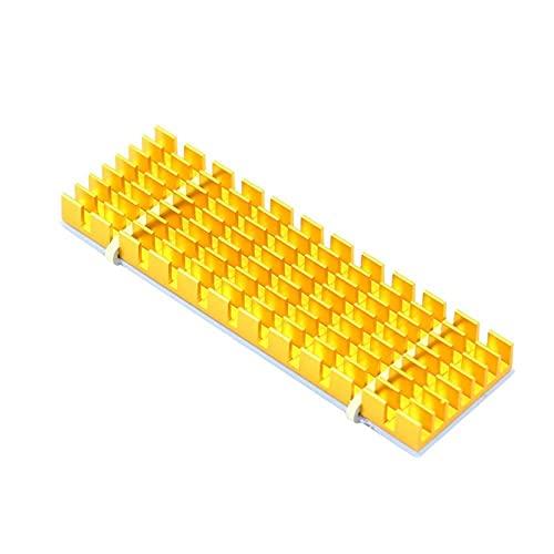 DLRSET Mini disipador de Calor, 2pcs disipadores de Calor de Aluminio para PCIE NVME M.2 2280 SSD con Almohadilla térmica de Silicona, DIY Laptop PC Memory Fin Radiatio (Color : Golden)