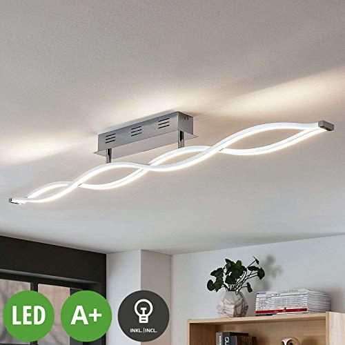 Lampenwelt LED Deckenleuchte 'Roan' dimmbar (Modern) in Chrom u.a. für Wohnzimmer & Esszimmer (A+, inkl. Leuchtmittel) - Lampe, LED-Deckenlampe, Deckenlampe, Wohnzimmerlampe