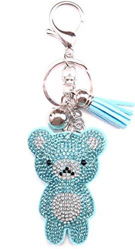 AuPra Bright Blue Crystal Teddy Bear KeyRing Gift Women & Men Best Friend Home KeyChain Mum & Dad Teacher Handbag Charm Key Ring Girl & Boy Car Pendant