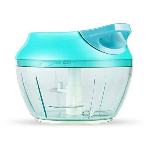 FEE-ZC Home Hand Groentezaker, handmatige keukenmachine, treksnoer voor het snijden van groenten, uien, knoflook, roestvrijstalen messen, anti-slip basis, multifunctioneel