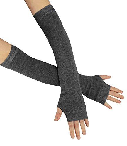 Caripe Fingerlose Armstulpen Damen Handschuhe Strick Stulpen lang, 11 (dunkelgrau)