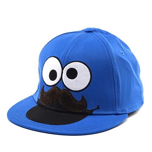 Bioworld Sesame Street Mustache Cookie Monster Fitted Flat-Bill Hat
