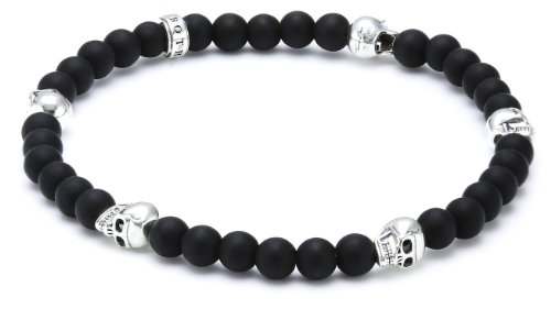 Thomas Sabo Damen-Armband Sterling Silber Rebel at heart matt-schwarze Obsidian und Mini-Skulls Breite: 0,5 cm A1097-023-11-L